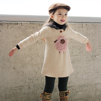 Winter Girls Dress 3 4 5 6 7 8 Year Hooded Thicken Warm Kids Dresses For