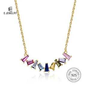 Image 3 - E Multicolor Square CZ Chain Necklace for Women Real 925 Sterling Silver Handmade Fine Jewelry 14K Gold Plated Rainbow Necklaces