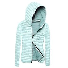 Women Padded Hooded Collar Winter Coat Slim Outwear Coat Zipper Jacket