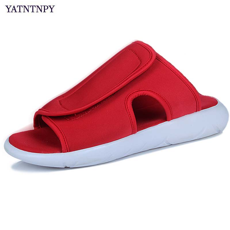 YATNTNPY Plus Big Size beach sandal for man, Summer men flip flops slides ,Comfortable Stretch Fabric slippers casual flat shoes