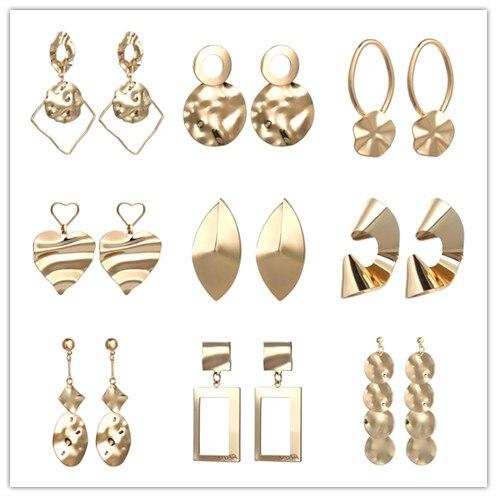Boho European Metal Earrings Indian Jewelry Irregular Geometric Earrings Silver Gold Love Heart Earrings Statement Brincos
