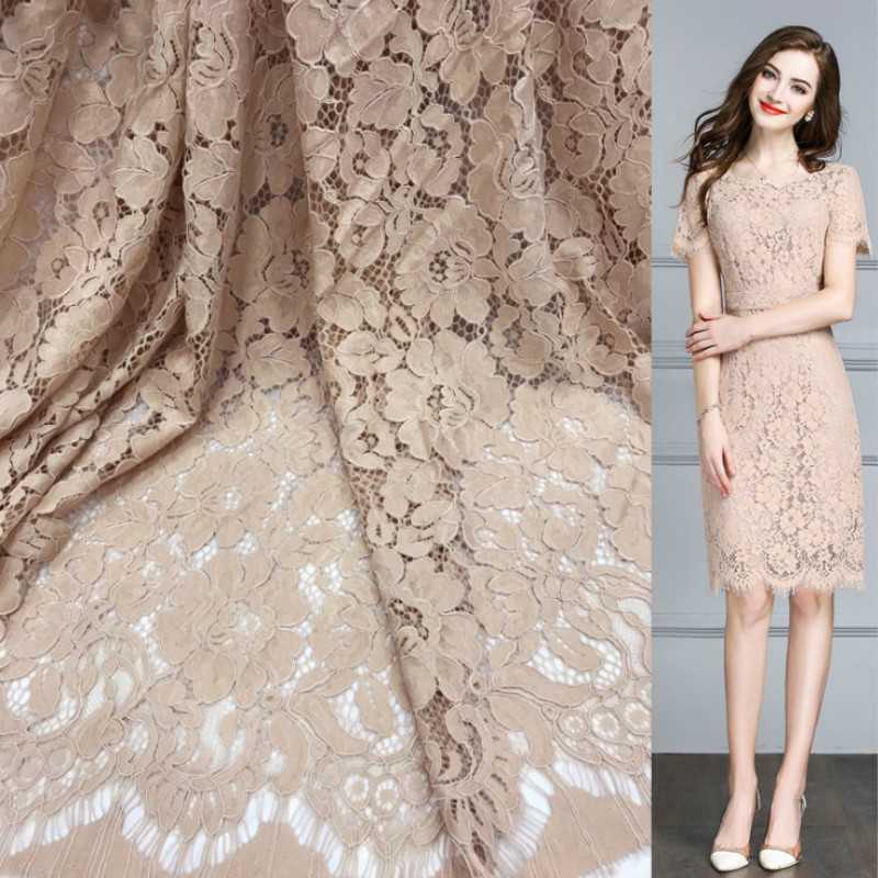 1.5m Nylon Lace Fabric Embroidered Flower  Lace For Wedding Dress Sewing Accessories