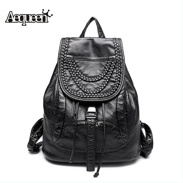 62892c16e5c AEQUEEN Women Backpack Leather Knitting Rivet College Student Backpacks  School Bags For Teenage Girls Travel Pack