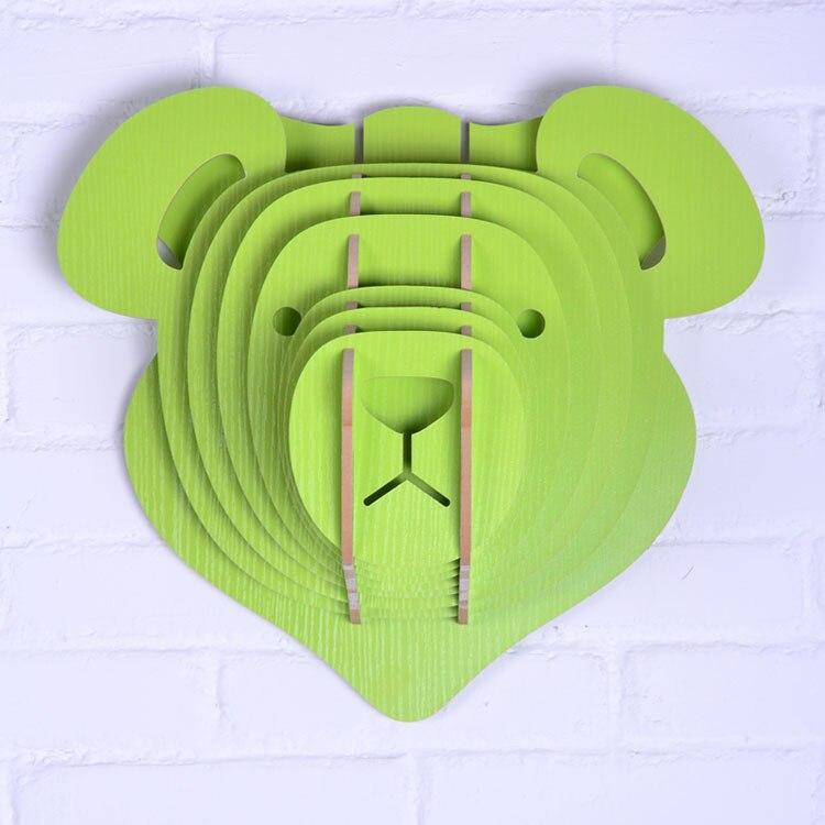 Tête d'ours en peluche, bricolage en bois artisanat pour décorations murales salon, articles de nouveauté, décoration de la maison, objets décoratifs, bon bois