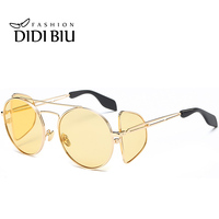 DIDI Hip Hop Steampunk Gold Mirrored Round Sunglasses Women Men Clear Pink Yellow Sun Glasses Windproof Driving Circle Lens W740