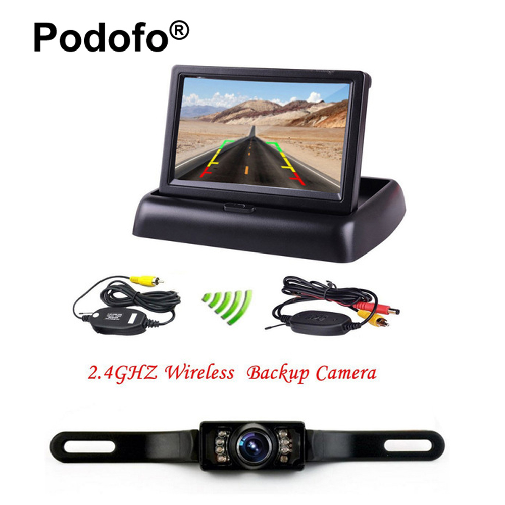 Podofo Wireless 4.3 LCD Foldable Car Monitor Rear View Camera for Backup Parking Reverse Cameras IR Night Vision Car-styling 7 car wireless foldable tft lcd monitor with rear view infrared night vision backup camera reverse parking cam for truck bus