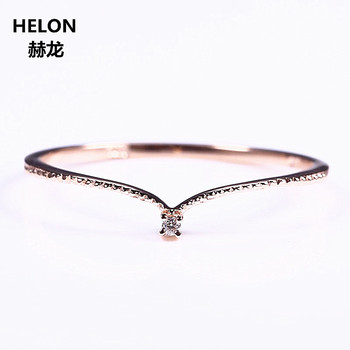 Solid 14k Rose Gold Natural Diamond Engagement Ring Women Wedding Band V Shape Fine Fine Jewelry Thin Cute Romantic