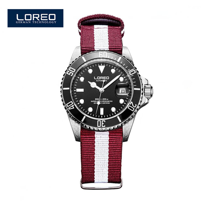 LOREO 40mm Auto Date Orologi Uomo Black Dial Red Sapphire Glass Automatic Luminous Mechanical Wristwatches Christmas Gift A14