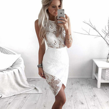 Hollow Out Women White Lace Dress 2019 O-Neck Sleeveless Sexy Pencil Bodycon Dresses ELegant Ladies Holiday Party Dress цена 2017