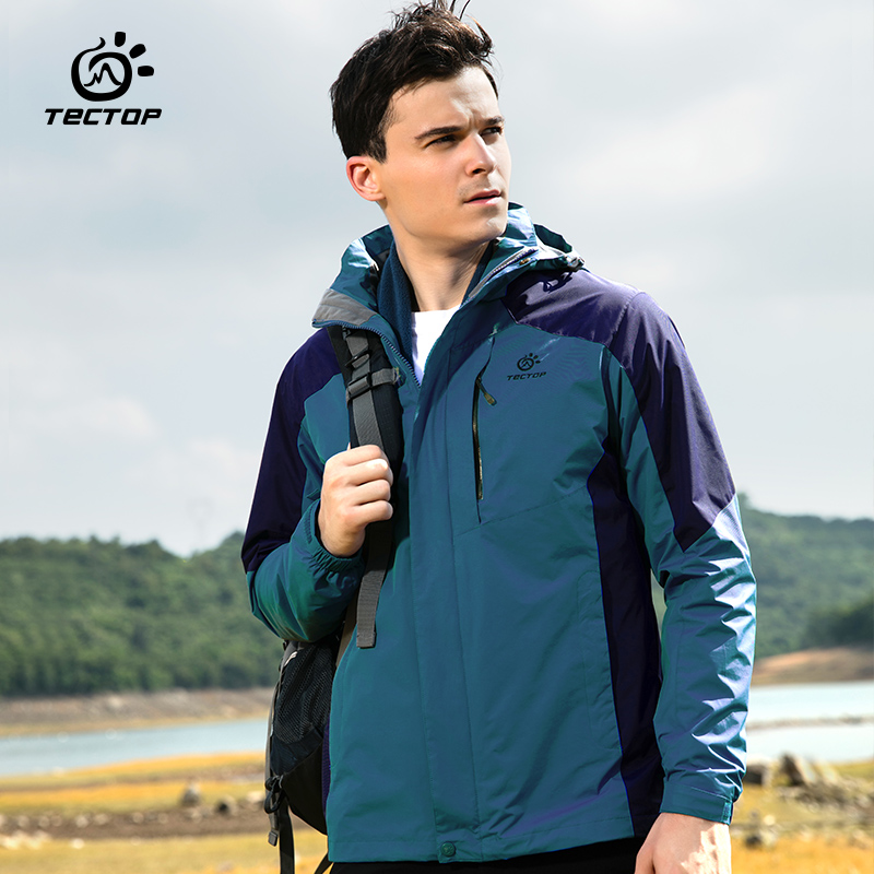 New Tectop Outdoor Winter 3 in 1 Men Hiking Jackets Male Waterproof Thermal Two-piece Coats For Travelling Skiing Hiking S-XXXL 2018 winter girls fancy mini floral party wear clothing for children sleeveless lace princess wedding dress prom dress for teens