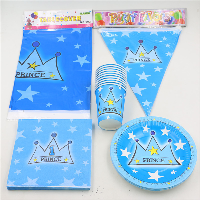 Birthday Decorate Prince Baby Shower Boys Favors Crown Theme Disposable  Tableware Napkins Cups Plates Set 42pcs