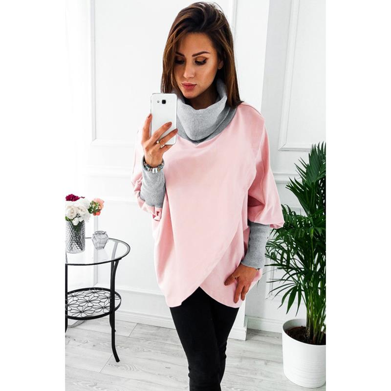 Women Hoodies Turtle Neck Sweatshirt Batwing Sleeve Pullover Femme WS4741E