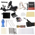 Solong Complete Tattoo Kit Professional Tattoo Machine Gun 7 Inks Power Supply Needle Grips Set For Beginner Tattoo Body Art