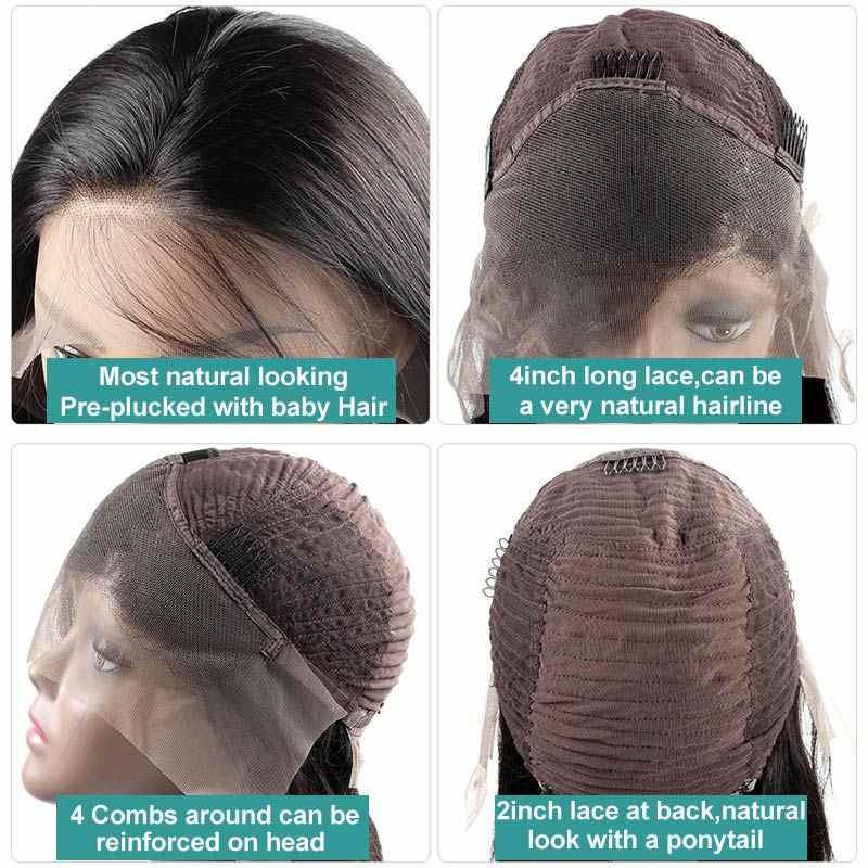 Allove волнистые человеческие волосы, парики, предварительно выщипанные волосы, бразильские волосы Remy, человеческие волосы, парики для женщин