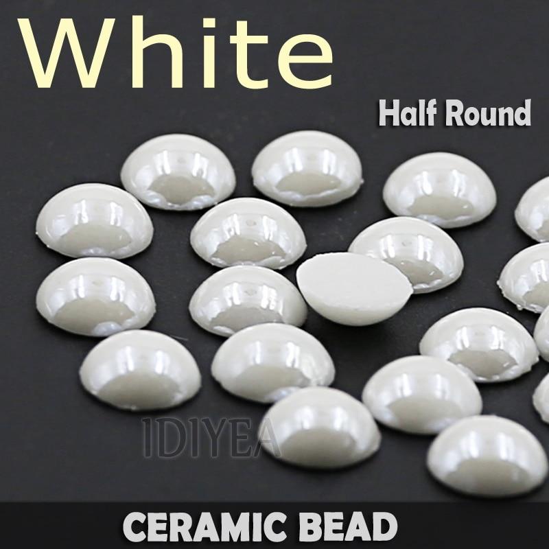 Dobre! Białe ceramiczne półokrągłe płaskie koraliki perłowe 2mm 3mm 4mm 5mm 6mm 8mm 10mm bez mocowania na gorąco dobre polerowane dla majsterkowiczów