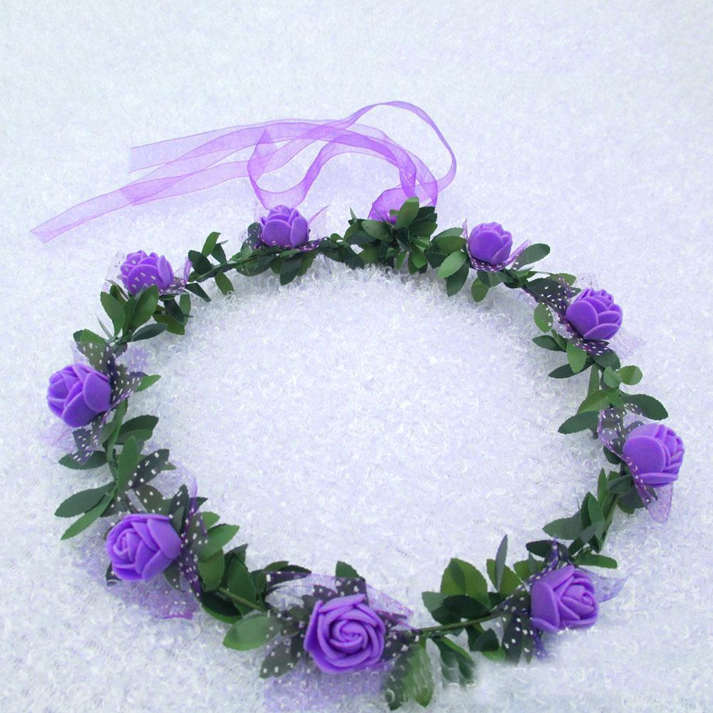 Wholesale handmade delicate head wreath wedding bride flower crown wholesale handmade delicate head wreath wedding bride flower crown headpiece purple rose headwaer for artistic photo free ship in hair accessories from izmirmasajfo
