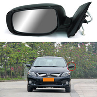 7 Pins Exterior Side Power Adjustable Heated Glass LED Turn Signal Mirror For Toyota Corolla 2010