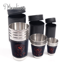Сумка CCCP 4 шт. чашки набор Открытый складной портативный путешествия 304# Нержавеющая Сталь чашки вина пива виски чашки открытый путешествия чашки