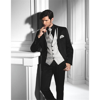 New Generous Mens Wedding Suits Notched Lapel Tuxedos Two Button Groomsmen (jacket+pants+vest) custom made