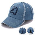 Brushed washed Jeans cotton embroidery baseball cap with fancy zipper back washed denim hat for boys and girls