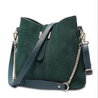Ragccifemale bag bucket bag Europe and the American vintage style handbag suede bags women shoulder bolsas designer H buckle sac