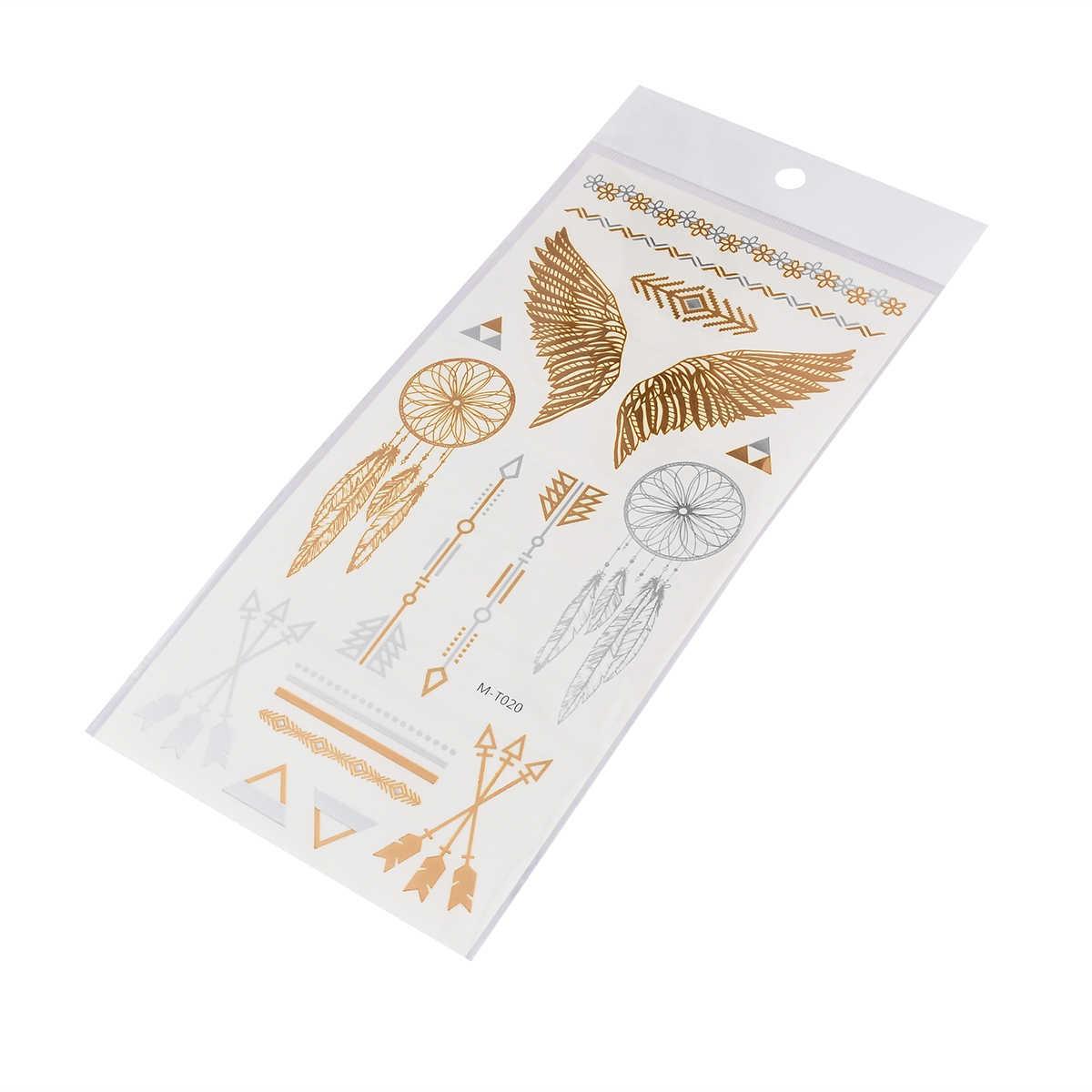 20*10cm geçici dövme etiket sahte dövme altın su geçirmez mısır tarzı çizgili kanatları görüntü geçici dövme kız için kadın