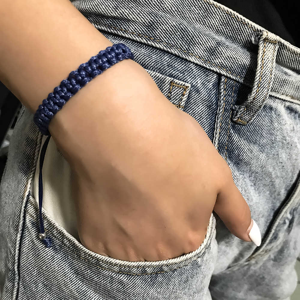 3UMeter Fashion Handmade Bracelet For Women Navy Blue Bracelet Adjustable Men Simple Personality Bracelet Drop Shipping