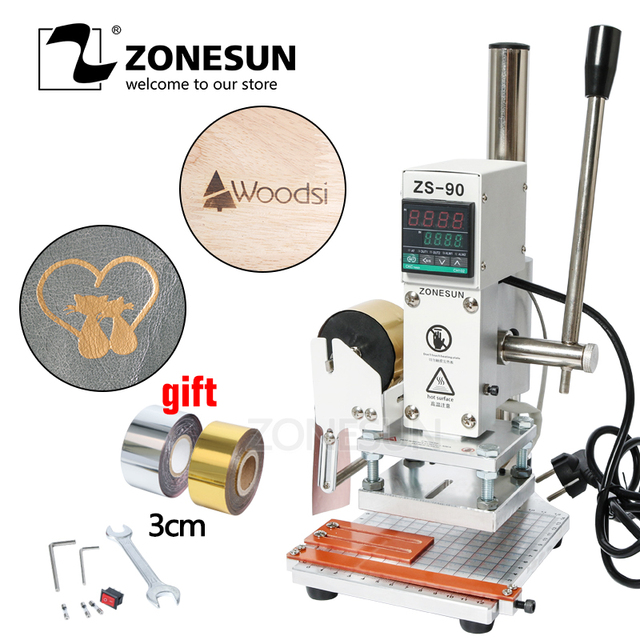 ZONESUN Hot Foil Stamping Machine Digital Manual Tipper Stamper Card Foil Logo Embossing Bronzing Wooden Machine For PVC Leather
