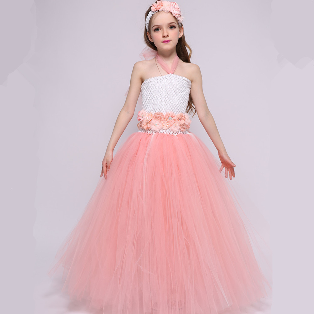 Peach Flower Girl Dresses For Weddings Gowns Princess Tulle Tutu Dress Elegant Girls Birthday Party Dress Summer Kids Clothes girl dress 2 7y baby girl clothes summer cotton flower tutu princess kids dresses for girls vestido infantil kid clothes