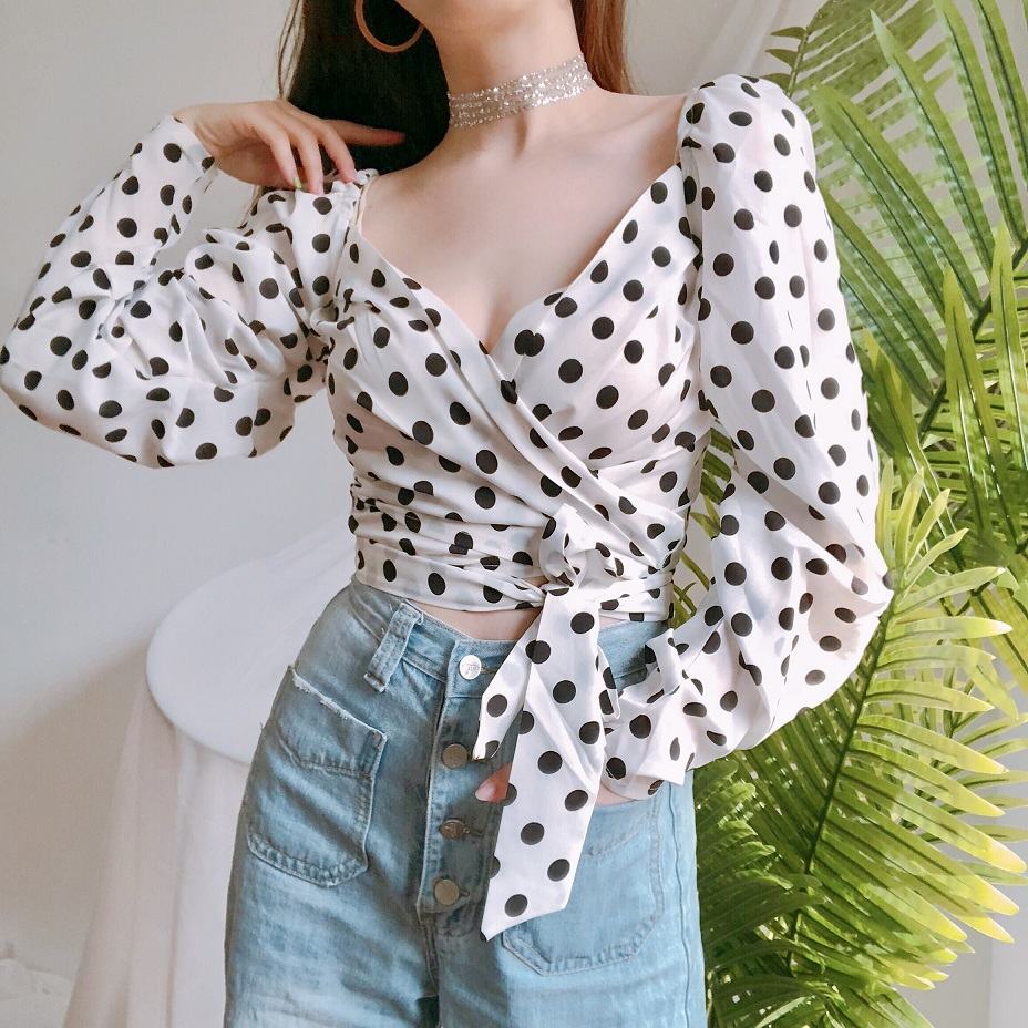 Spring 2019 Long Sleeve V collar Short Wave Point Printed Blouse Chiffon Shirt Fashion White Grace Sleeves Sexy Jacket Women in Blouses amp Shirts from Women 39 s Clothing