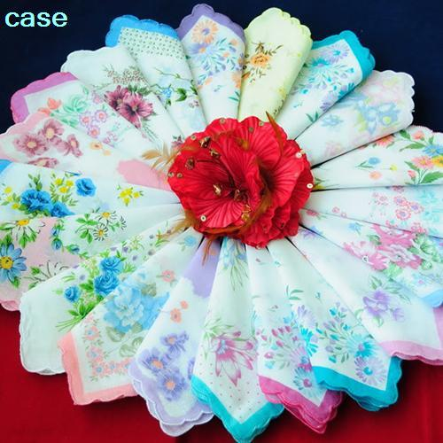 Retro Aesthetic Printing Cotton Handkerchief 10Pcs Handkerchief Antique Floral Embroidered Scarf Hankie Mint