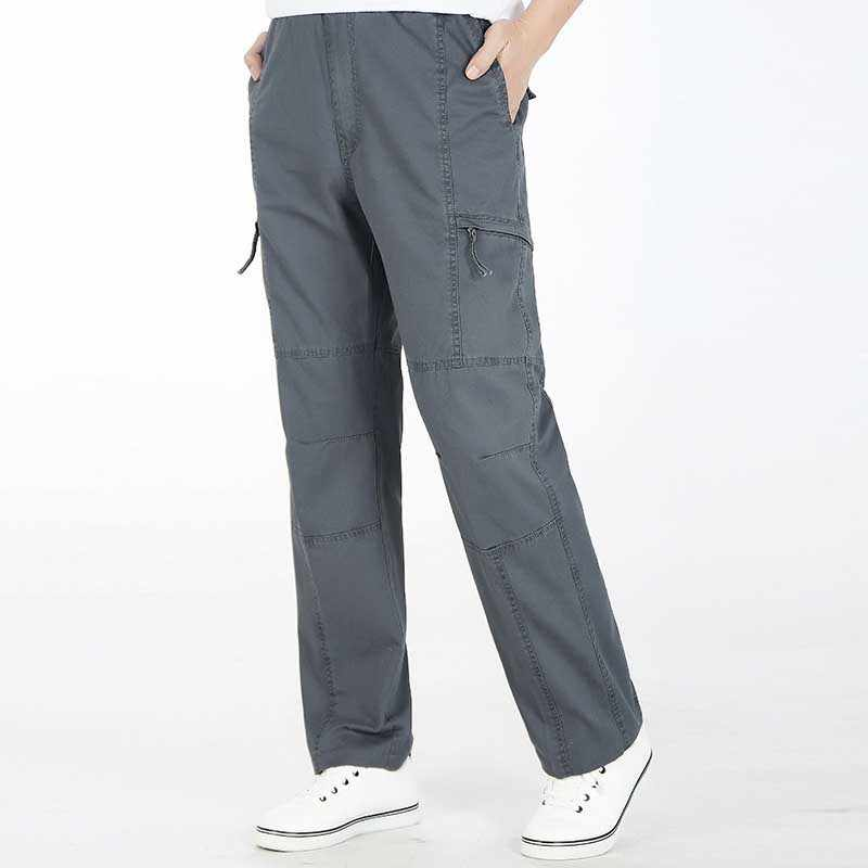 ฤดูใบไม้ผลิฤดูร้อนผู้ชายผ้าฝ้ายกางเกงหลายกระเป๋าตรงหลวมหลวมกางเกงชาย Joggers กางเกง Hip Hop Plus ขนาด M-6XL
