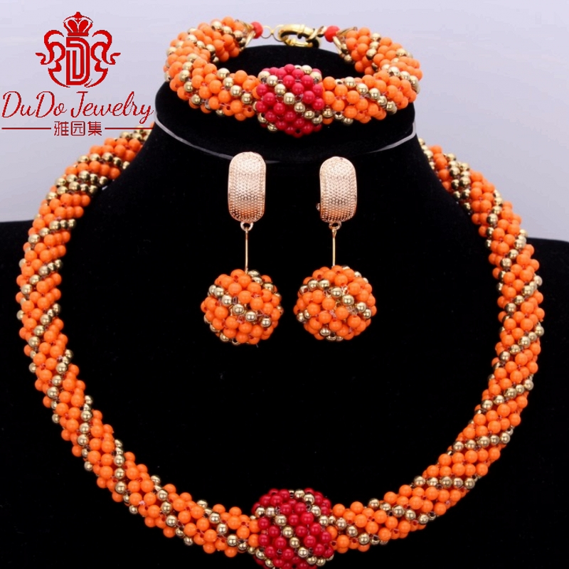 Round Orange Red Party Wedding Dubai Jewelry Set Fashion Ball And Plated Gold African Nigerian Wedding Jewelry Sets Women Beads-in Jewelry Sets from Jewelry & Accessories    1