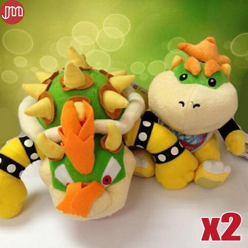 Us 18 98 New 2 Pcs Bowser King Koopa Jr Plush Toy Stuffed Plush Doll Sanei Approx 7