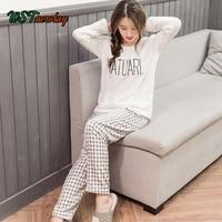 Casual Flannel Women Pajama Sets Autumn Winter Cartoon Warm Pyjamas Set Homewear Tops Pants Nightwear Sleepwear