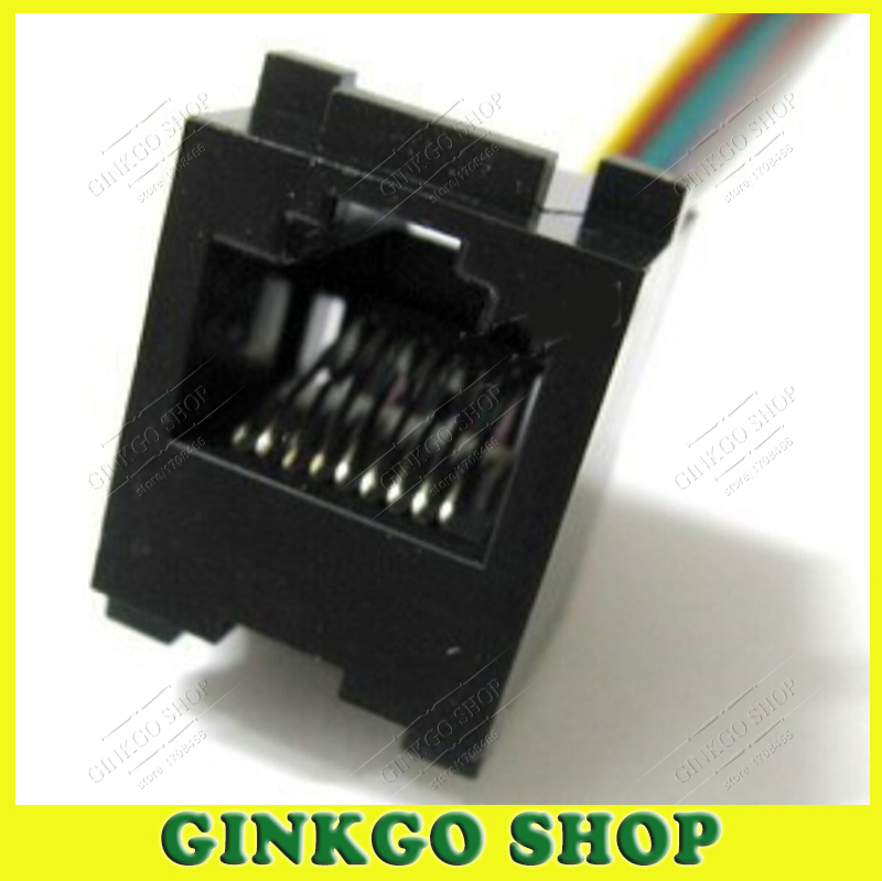 20pcs/lot 8 Pins RJ45 PCB Mounting Type RJ11 8P8C Modular Telephone Adaptors Connectors Jack With Cable 641D-8P8C 150mm Length