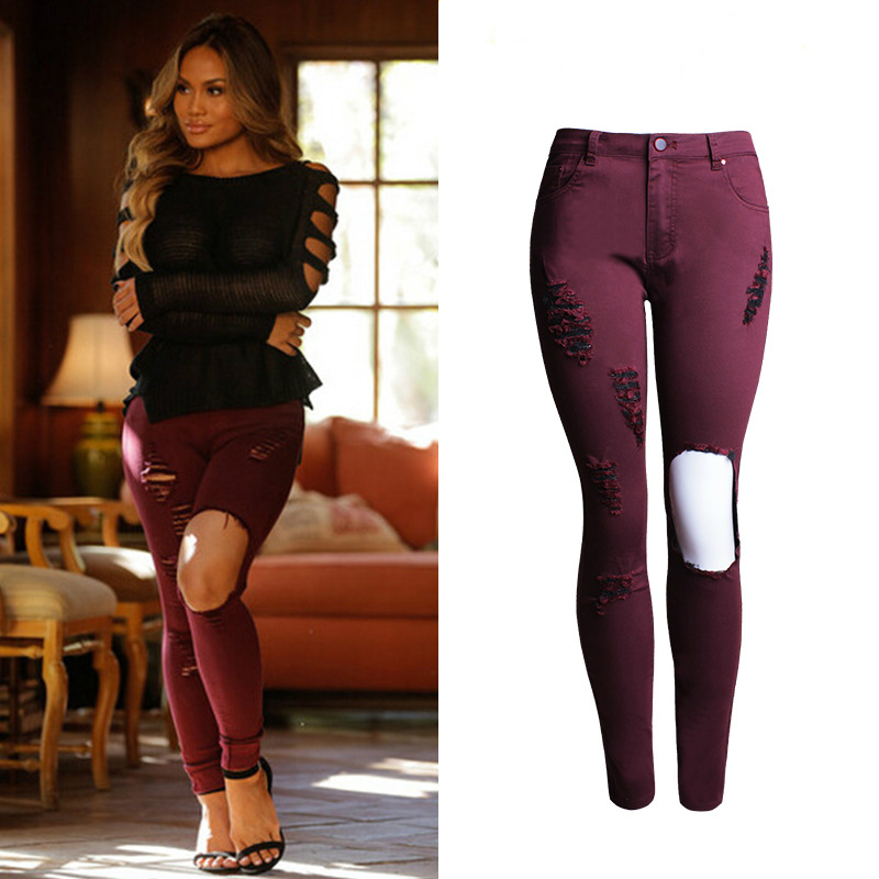 Online Buy Wholesale red wine jeans from China red wine jeans ...