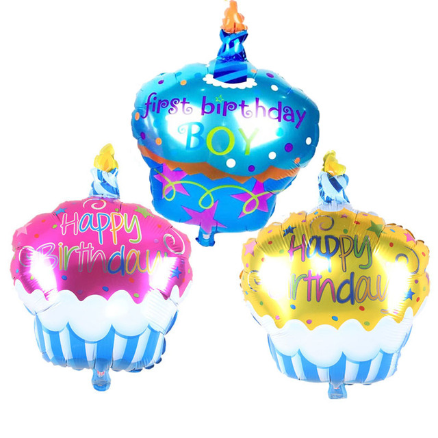 Birthday Cake Candle Air Balls Helium Foil Balloons Happy Birthday