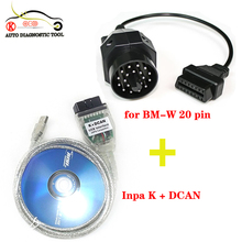 Protocol for bmw Interface USB OBD2 INPA Ediabas K+D CAN&20 pin to 16pin OBD 2 Cable Adapter in 2 lines K and D-Can magistral