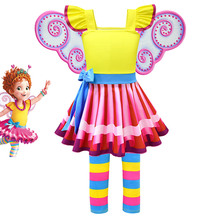 Fancy Nancy Dress For Girl Kids Summer Cosplay Party Outfits Colorful Striped Costumes Picture Book Character Up Sets