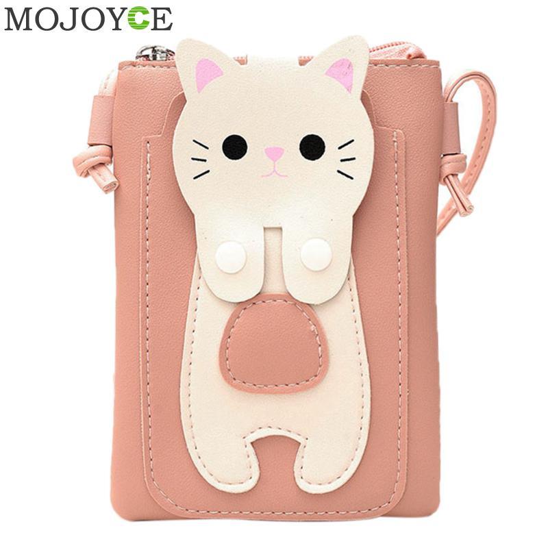 Women PU Leather Messenger Bag Small Cat Printed Shoulder Bag Fashion Mini Mobile Phone Bags Causal Women Handbags Crossbody Bag все цены