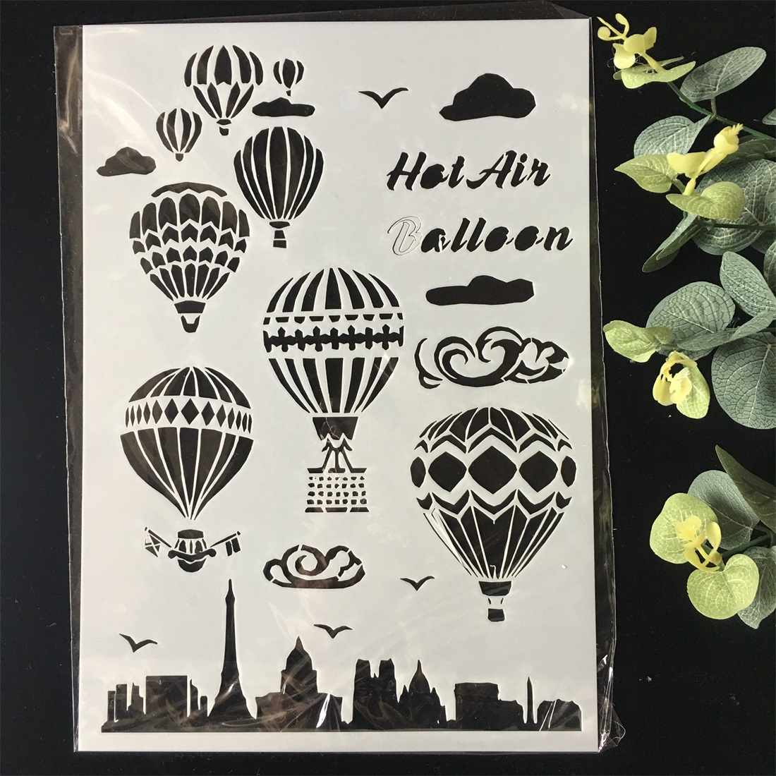 New A4 Hot Air Balloon Craft DIY Layering Stencils Wall Painting Scrapbook Coloring Embossing Album Decorative Card Template
