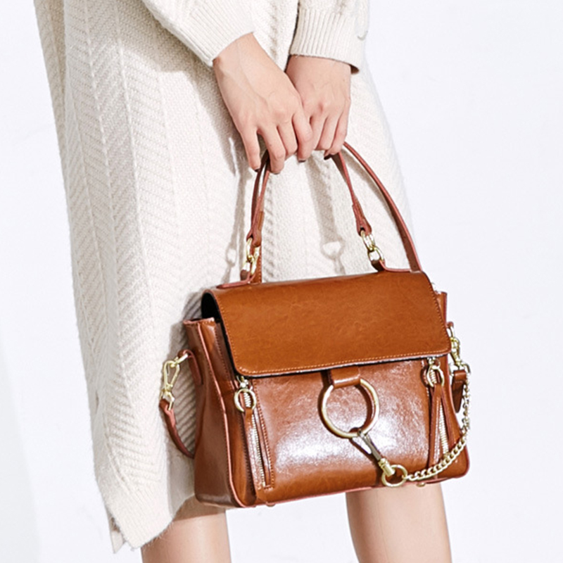 Handbag leather crossbody single shoulder flap bags for women fashion lady casual chains tote 4 color black/red/brown/green
