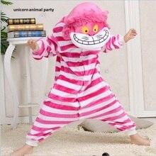 Kigurumi Christmas Sleepsuit Cheshire Cat Pajamas Onesie Animal Rompers Jumpsuit Cartoon Cosplay Costumes Children Unisex Pyjama