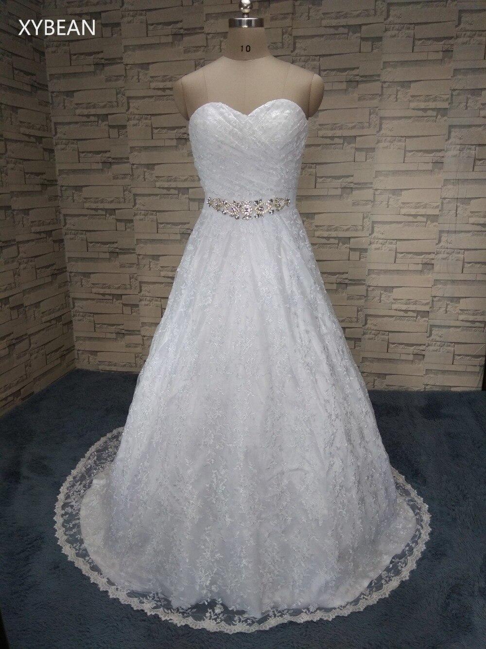 Diskon besar-besaran ! Harga murah ! 2019 kedatangan baru pengiriman gratis manik-manik garis Sayang renda putih / gaun pengantin gading FS021