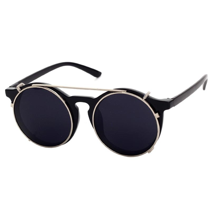 Cubojue Clip on Round <font><b>Sunglasses</b></font> Men Women Vintage Steam Punk <font><b>Sunglasses</b></font>-men Retro Mirror <font><b>Sunglass</b></font> 2018 Designer Uv400 Glasses