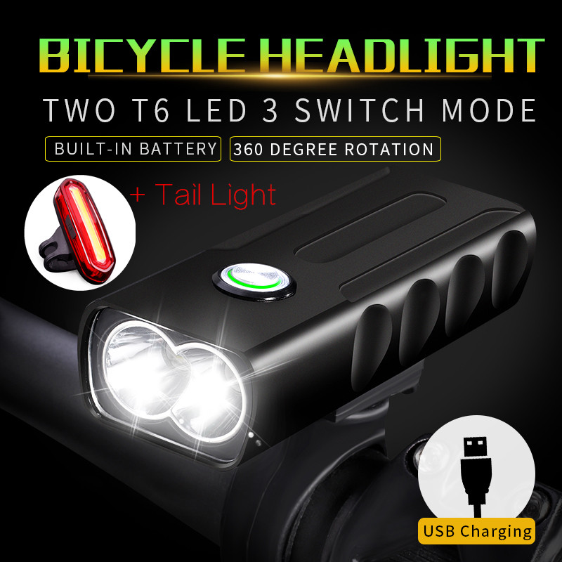 USB Rechargeable XML T6 LED Bicycle Light Bike Front Headlight /& Taillight Set*