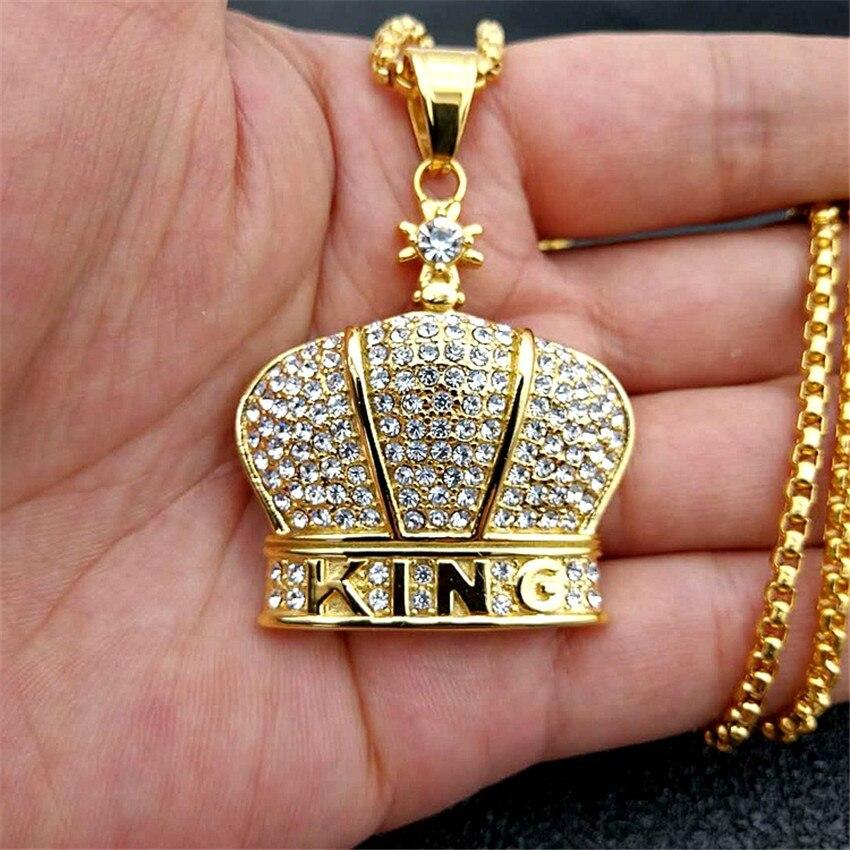 Couronne croix pendentifs colliers en acier inoxydable couleur or chaîne pour femmes/hommes strass glacé Bling orthodoxe église bijoux