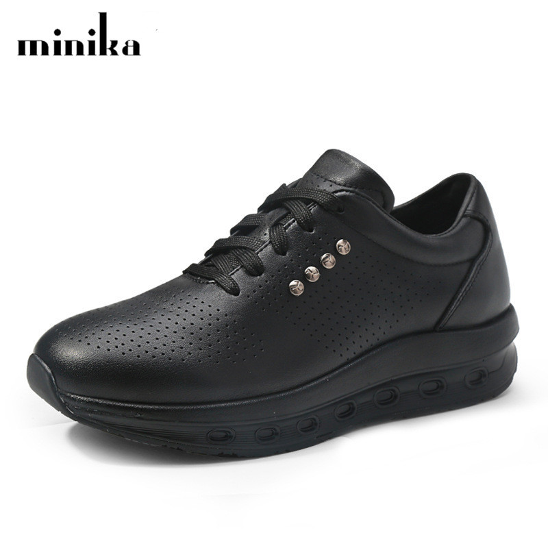 New Genuine Leather Casual Shoes Woman Fashion Breathable Mother Platform Shoes Trainers Women Sneakers Big Size