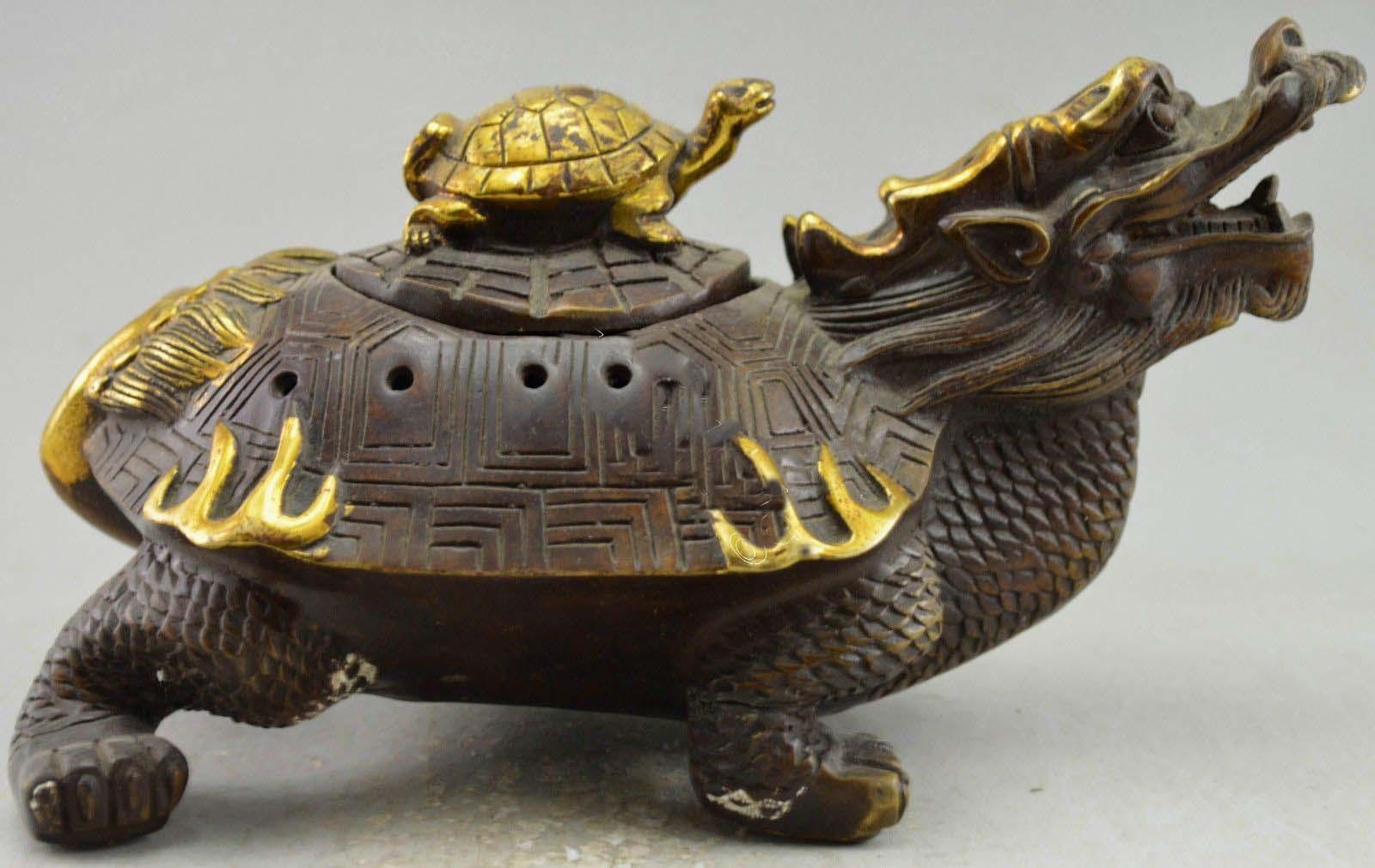 Brûleur d'encens de Statue de tortue de Dragon en cuivre décoré de Style chinois